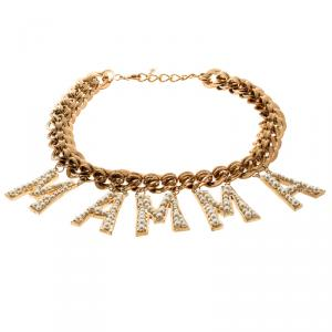 Dolce and Gabbana Faux Pearl Mamma Charm Gold Tone Necklace