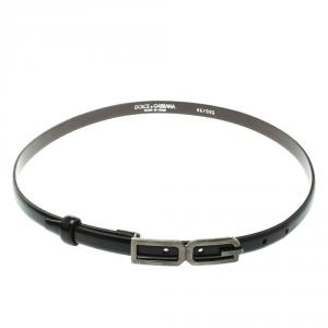 Dolce and Gabbana Black Glossy Leather Skinny DG Logo Belt 85cm