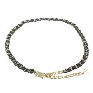 Dolce and Gabbana Navy Blue Braided Leather Gold Tone Chain Belt