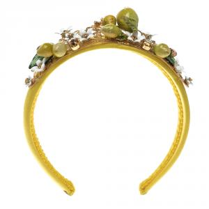 Dolce and Gabbana Yellow Lemon Crystal Embellished Headband