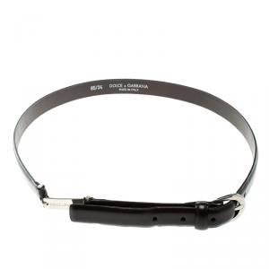 Dolce and Gabbana Dark Brown Glossy Leather Skinny Belt 85cm