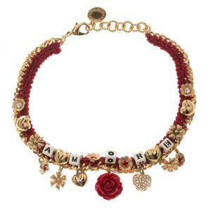 Dolce and Gabbana Amore Red Woven Gold Tone Choker Necklace