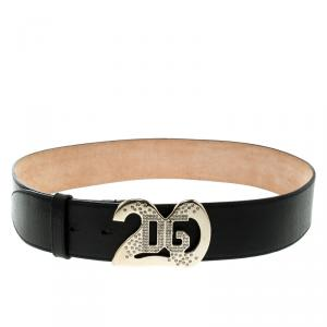 Dolce And Gabbana Black Leather Crystal Embellished Logo Buckle Belt 85cm