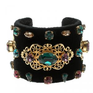 Dolce and Gabbana Black Velvet Crystal Embellished Open Cuff Bracelet