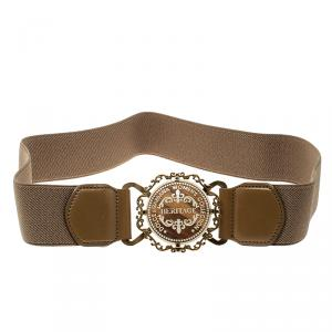 Dolce and Gabbana Dark Beige Canvas Elastic Heritage Waist Belt 75 CM