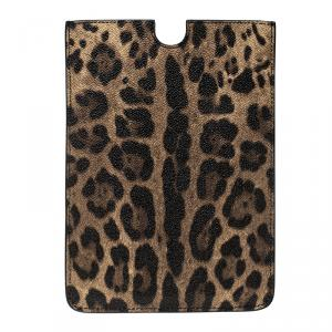 Dolce and Gabbana Brown Leopard Print Leather iPad Mini Case