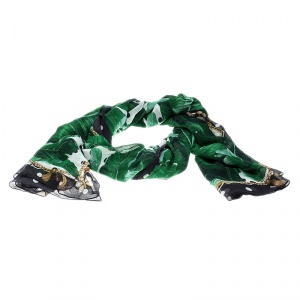 Dolce and Gabbana Banana Leaf Print Crinkled Silk Chiffon Scarf