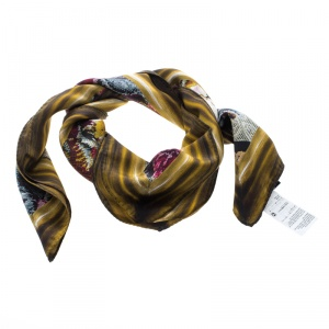 Dolce and Gabbana Multicolor Animal Cross Stitch Printed Square Scarf