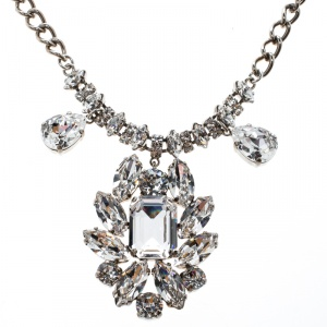 Dolce and Gabbana Crystal Flower Silver Tone Necklace