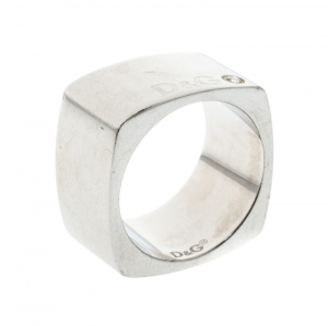 Dolce and Gabbana Crystal Silver Tone Wide Band Ring Size 60