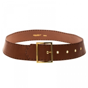 Dolce and Gabbana Brown Leather Waist Belt Size 85CM