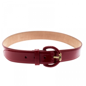 Dolce and Gabbana Red Patent Leather Belt 90CM