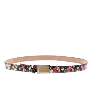 Dolce & Gabbana Multicolor Floral Print Patent Leather Logo Plaque Belt Size 90CM