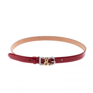 Dolce and Gabbana Red Patent Leather D&G Buckle Belt 85CM