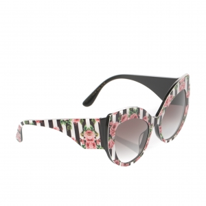 Dolce & Gabbana Rose Printed/ Black Gradient DG4321-F Rose Collection Cat Eye Sungalsses