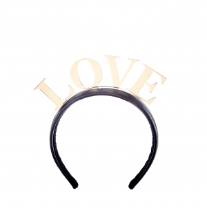 Dolce and Gabbana Love Black Gold Tone Headband