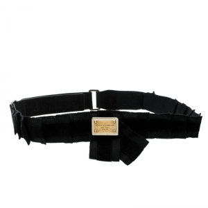 Dolce and Gabbana Black Canvas and Suede Logo Waist Belt 85CM
