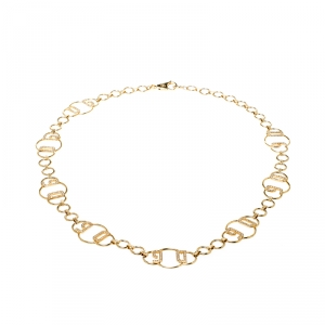 Dolce and Gabbana Logo Crystal Gold Tone Chain Link Belt