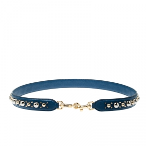 Dolce and Gabbana Blue Studded Bag Strap