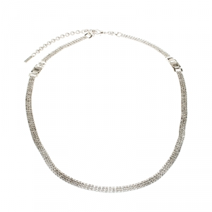 Dolce and Gabbana Crystal Silver Tone Chain Link Waist Belt