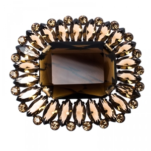 Dolce & Gabbana Brown Rectangle Crystal Pin Brooch