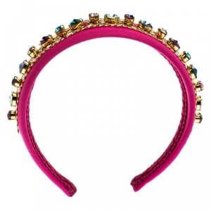 Dolce and Gabbana Multicolor Crystal Embellished Pink Headband