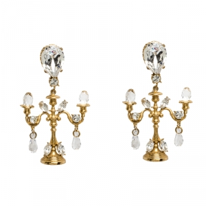 Dolce & Gabbana Gold Tone Crystal Embedded Chandelier Clip On Earrings