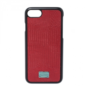 Dolce & Gabbana Red/Black Lizard Embossed Leather Iphone 7 Case
