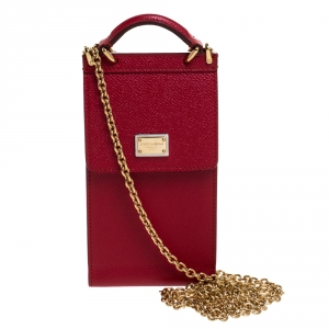 Dolce and Gabbana Red Leather Miss Sicily Crossbody Phone Holder