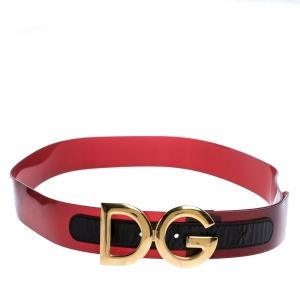 Dolce & Gabbana Red PVC Logo Buckle Belt 90CM