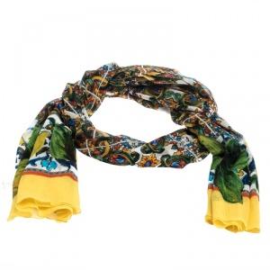 Dolce & Gabbana Multicolor Majolica Print Silk Chiffon Scarf