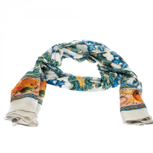 Dolce & Gabbana Multciolor Majolica Tile Print Silk Plisse Scarf