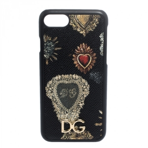 Dolce & Gabbana Black/Gold Sacred Heart Print Leather iPhone 7 Case