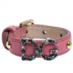 Dolce & Gabbana DG Logo Crystal Detail Pink Leather Bracelet