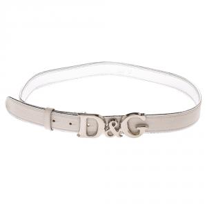 Dolce & Gabbana Cream/Silver Leather DG Logo Belt 100CM