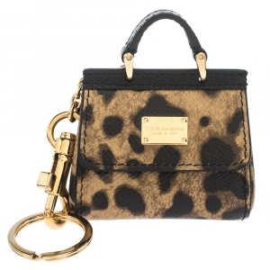 Dolce & Gabbana Leopard Print Leather Miss Sicily Key Chain