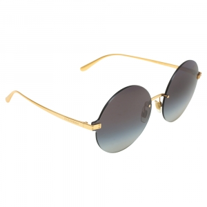 Dolce & Gabbana Gold Tone/ Grey Gradient Logo Plaque Round Sunglasses