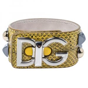 Dolce & Gabbana Logo Python Three Tone Metal Leather Bracelet L