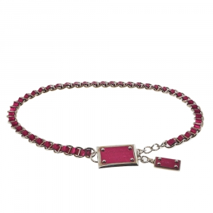 Dolce & Gabbana Fuchsia Leather Logo Plaque Chain Belt 85CM