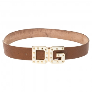 Dolce & Gabbana White/Tan Leather Logo Studded Leather Waist Belt 85CM