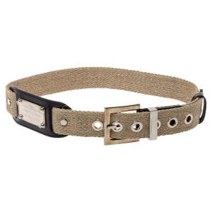 Dolce & Gabbana Beige Canvas Plaque Detail Belt 75CM