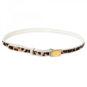 Dolce & Gabbana White Leather and Animal Print Calf Hair Narrow Belt 85CM