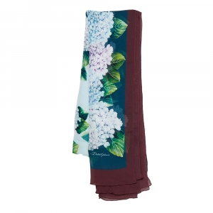Dolce & Gabbana Multicolor Floral Printed Silk Crepe Scarf