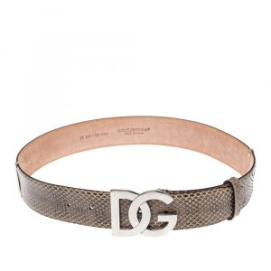 Dolce & Gabbana Brown/Yellow Snakeskin and Patent Leather Logo Belt 75CM