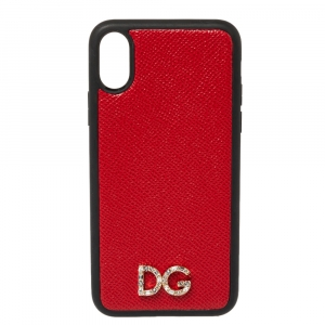 Dolce & Gabbana Red/Black Leather Dauphine iPhone X Case