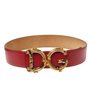 Dolce & Gabbana Red Leather Baroque Logo Buckle Waist Belt 85 CM