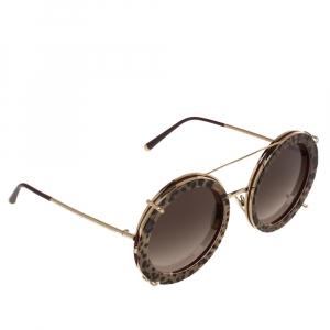 Dolce & Gabbana Brown Leopard Print DG2198 Gradient Round Sunglasses