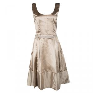 Dolce and Gabbana Beige Satin Pleated Sleeveless Dress S