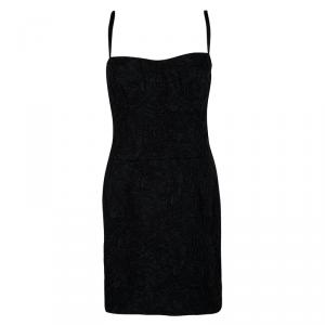 Dolce and Gabbana Black Textured Jacquard Sleeveless Dress L