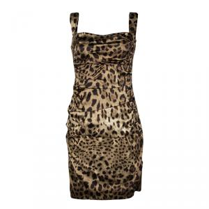 Dolce And Gabbana Leopard Print Ruched Sleeveless Dress M